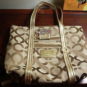 Coach taupe poppies tore bag